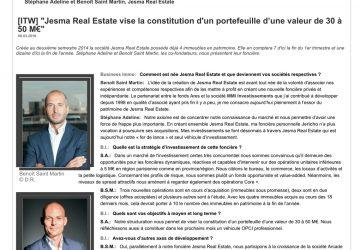 Jesma Real Estate vise la constitution d'un portefeuille d'une 50 M€