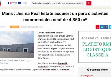 Le Mans : Jesma Real Estate acquiert un parc d'activités de 4.350 m²